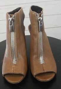 Nine-West-Brown-Open-Toe-Zipper-Wedges-Shoes-Womens-Size-6M