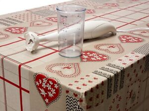 Wipe-Clean-tablecloth-PVC-Vinyl-Oilcloth-Natural-Beige-Stags-amp-Hearts