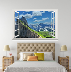 3D White Clouds Sky 09 Open Windows WallPaper Murals Wall Print AJ Jenny