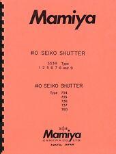 Seiko Shutters for Mamiya C & Mamiya Press Exploded Views Parts List & Repair