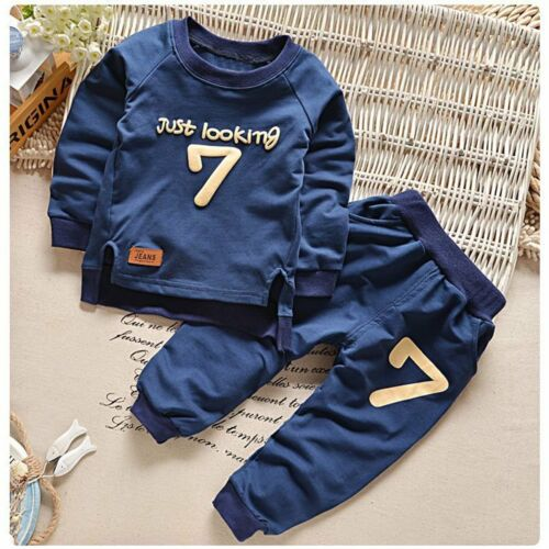 Toddler Kids Baby Boys Girls T-shirt Tops+Long Pants Outfits Clothes Sport Set
