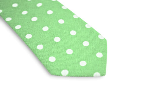 Frederick Thomas mens light spring green polka spot mens cotton tie FT3351