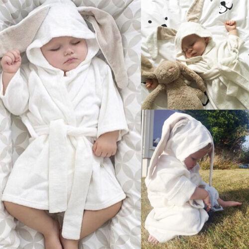 Infant Kid Baby Hooded Bath Robe Cute Rabbit Ear Bathing Towel Sleepwear Pajamas
