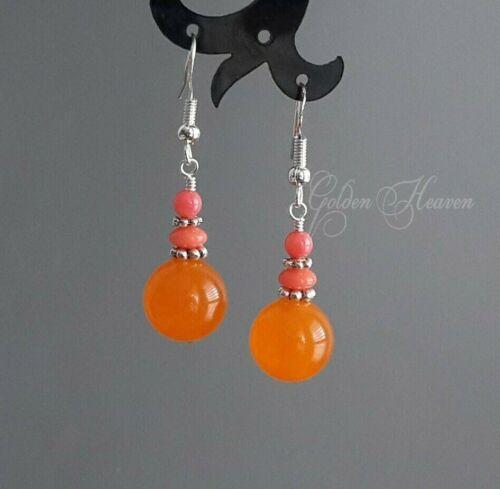 Orange Jade rose et corail MIGNON Pierre précieuse Boucles d/'Oreilles Argent Sterling 925 Bijoux