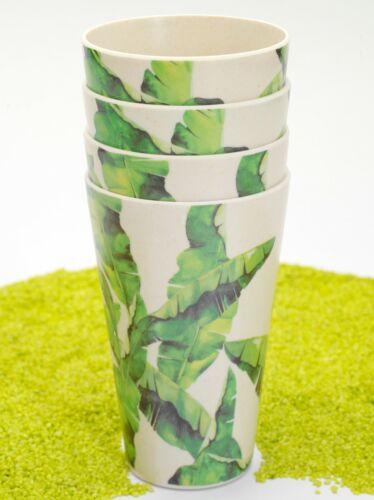4er Set Trinkbecher Bambus Dschungelblatt 4 Motive 320 ml