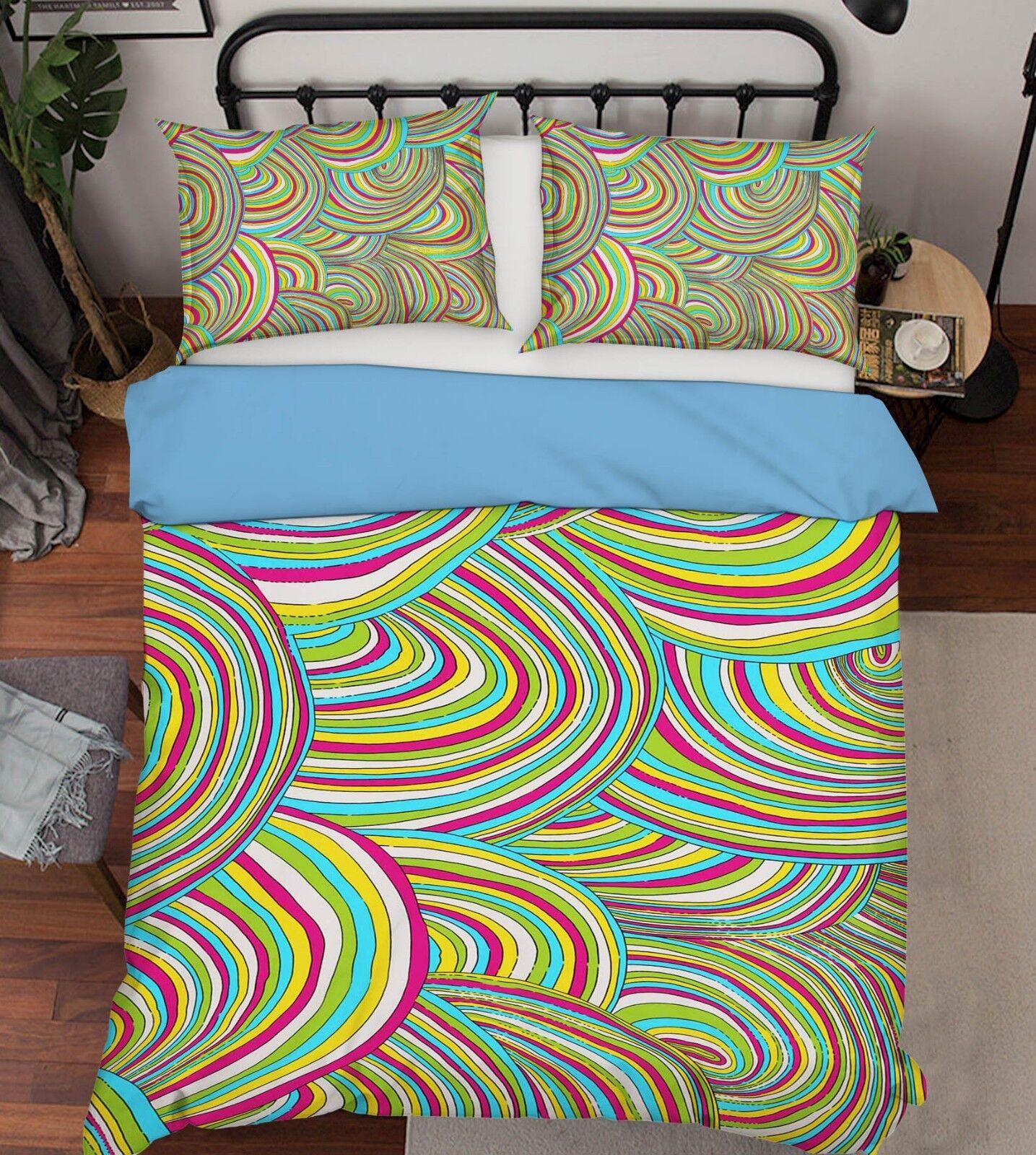 3D Rainbow Abstract 1 Bett Pillowcases Quilt Duvet Startseite Set Single Königin König