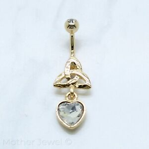 14K YELLOW GOLD TRIPLE PLATE BEZEL SET SIMULATED DIAMOND BELLY BUTTON NAVEL RING