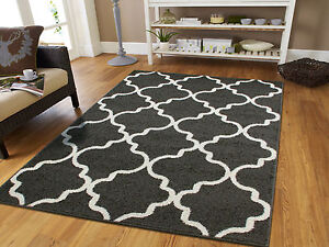 Image Is Loading Large 8x11 Moroccan Trellis Rug 5x8 Grey Rugs