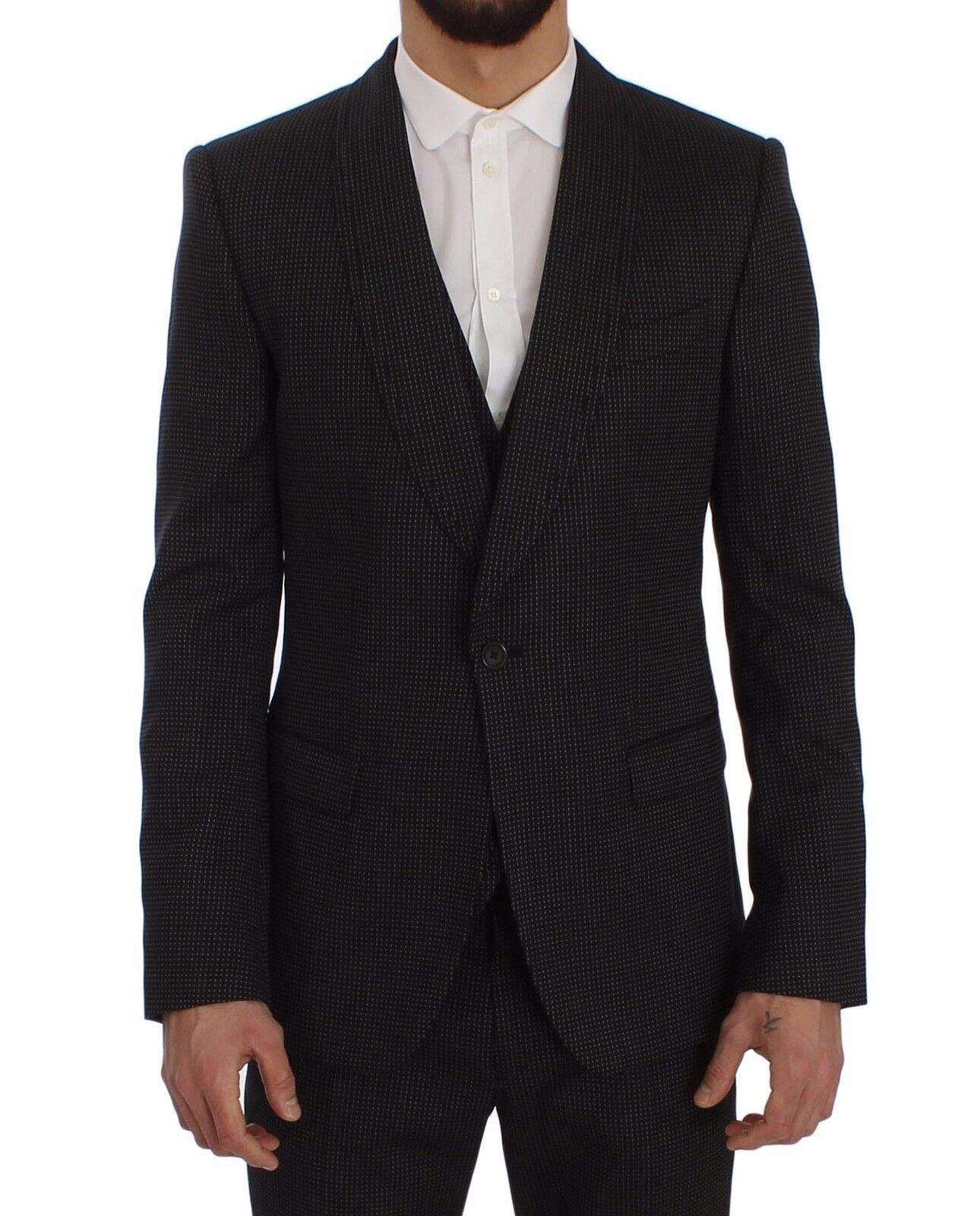 NEW DOLCE & GABBANA Suit 3 Piece grau Wool Silk Stretch Slim Fit EU52/US42