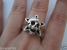 NEW Beautiful Skull & Star 925 Sterling Silver Ring Size 9 + Free Shipping