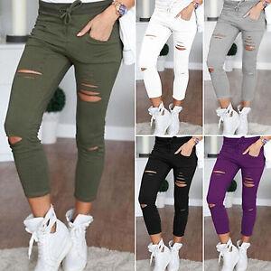 Women-039-s-Leggings-Stretch-Faded-Ripped-Slim-Fit-Skinny-Denim-Jeans-Pants-Trousers