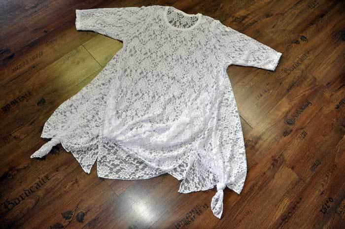 Designer Lagenlook Lagenlook Lagenlook Tunic Dress with Pointed Tails Finest 3-d Tip White XXL, XXXL 278ea4