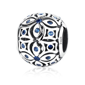 New-Authentic-925-Sterling-Silver-Blue-Flower-Charm-Beads-for-Bracelet-Necklace