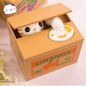 Automatic Stealing Money Cat Kitty Piggy Bank Coin Saving Box Case Gift US
