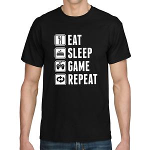 EAT-SLEEP-GAME-REPEAT-Gamer-Zocker-Admin-Sprueche-Spass-Lustig-Comedy-Fun-T-Shirt