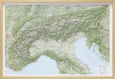 Responsabile Le Alpi Carta Geografica - Fisica In Rilievo [97x67 Cm] [con Cornice] Global Map