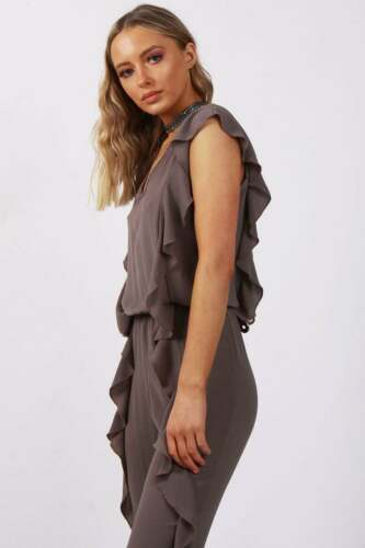 NUOVA linea donna URBAN Mist Ruffle Dettaglio Smart Casual tuta con elastico in vita