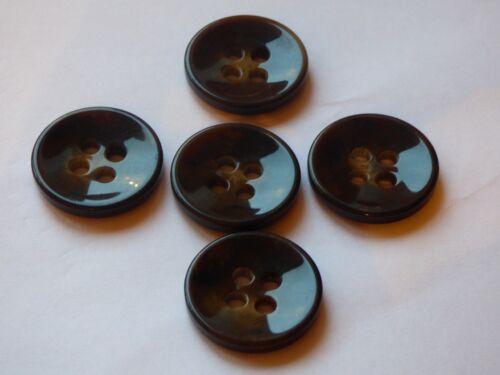 Grande 27mm X 5 Oscuro Marrón Chocolate 4 Botones Abrigo Chaqueta Cárdigan grueso agujero