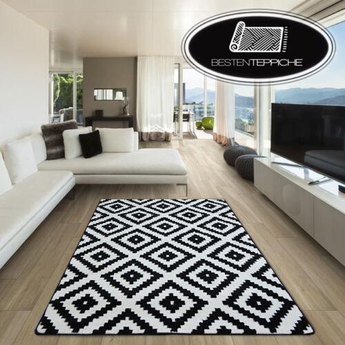 8 Größen Modernen Weich Teppich SKETCH F998 schwarz Quadrate Rauten Aztec