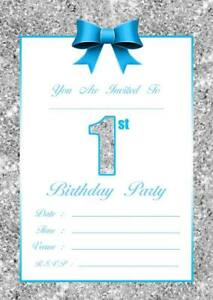 Baby boys 1st birthday party invitations kids invites blue silver 10 image is loading baby boys 1st birthday party invitations kids invites filmwisefo
