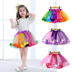 7a35e5813 Girls Kids Tutu Skirt Tulle Dance Ballet Dress Toddler Rainbow Bow ...