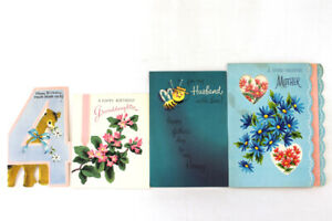 Lot-of-4-Vintage-Paper-Greeting-Cards-Fathers-Day-Birthday-Valentines-Day