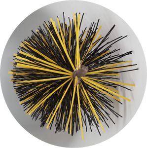 CFC051 250mm/10 inch dia Black/Yellow Polypropylene PRO Flue Brush 200mm long