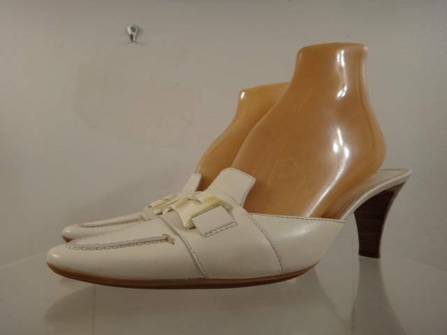 TOD'S Women's White Leather Pointed Toe Mules Pumps shoes Size 9.5