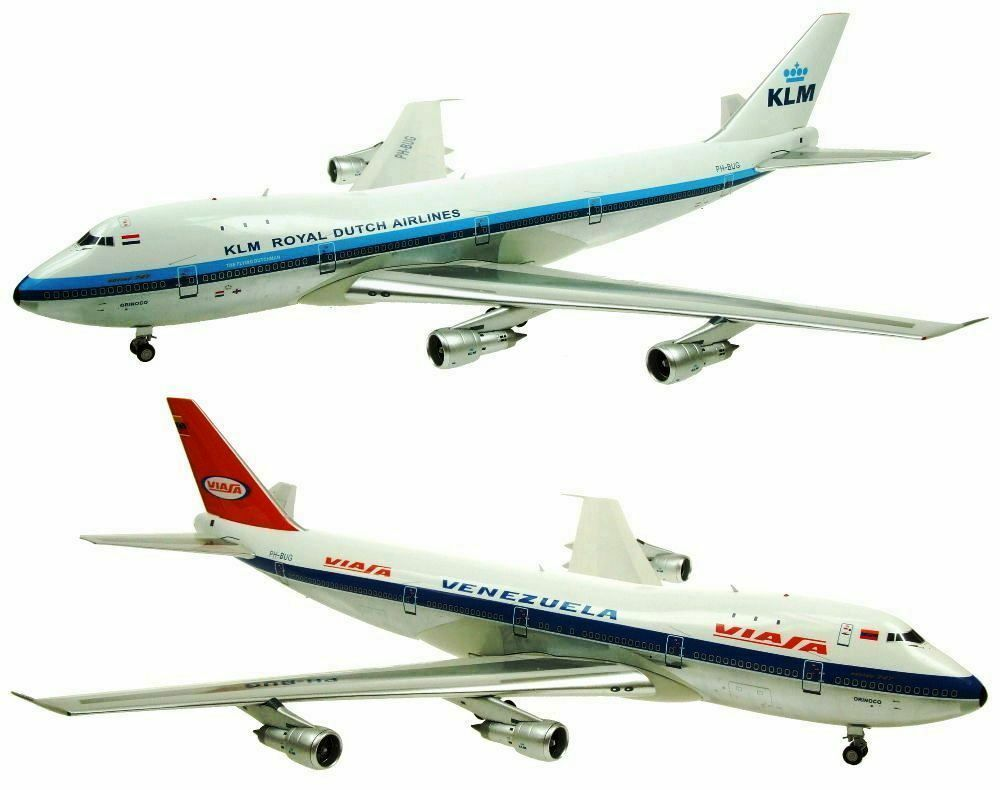 INFLIGHT200 IF7420217A 1 200 VIASA KLM BOEING 747-200 PH-BUG DUAL LIVERY W STAND