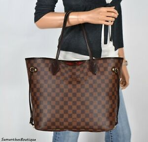 LOUIS-VUITTON-NEVERFULL-MM-DAMIER-EBENE-LEATHER-TOTE-SHOULDER-BAG-HANDBAG-PURSE