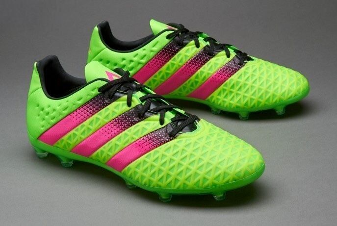 110 Mens adidas ACE 16.2 FG AG Soccer Cleats AF5266 SOLAR GREEN PINK sz 11
