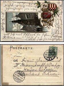 1905-BREMEN-Praege-Lithographie-Litho-AK-Wappen-amp-Roland-nach-LAAGE-A-Stempel