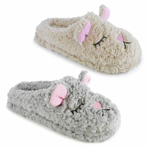 Ladies Plush Sleeping Dog Mules Slippers warm and comfy