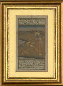 Framed-20th-Century-Watercolour-Indian-Lovers
