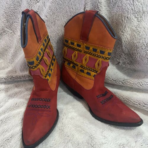 CIRCLE S Women's Cowboy Boots Size 7 1/2 Navajo Co