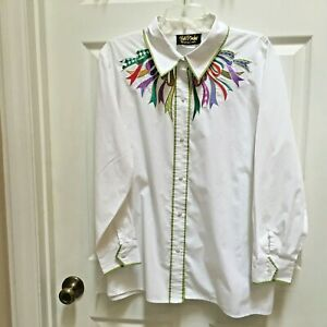 Bob-Mackie-Wearable-Art-shirt-2X-w-Ribbons-LS-White