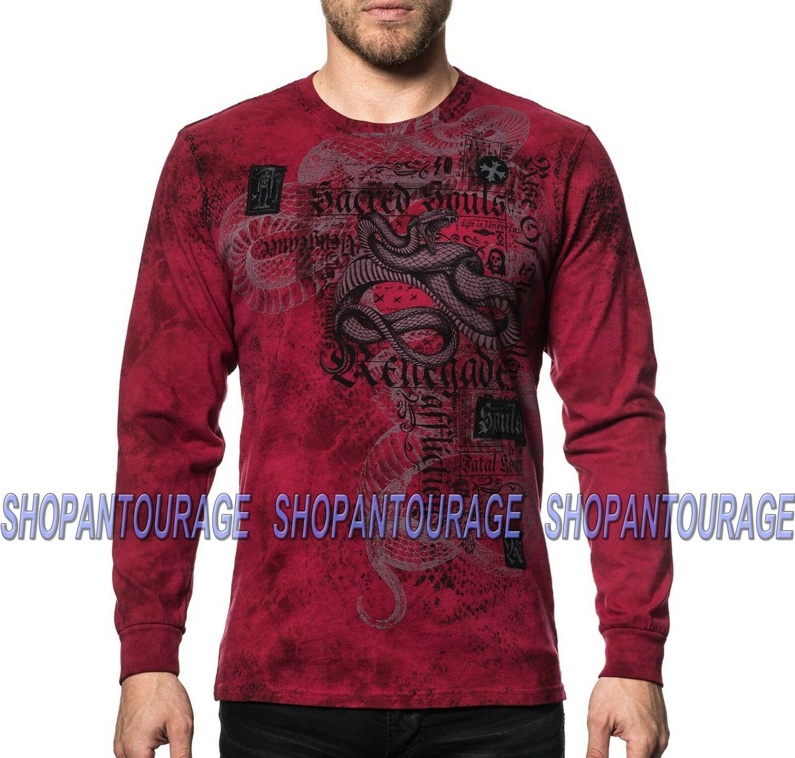 Affliction Snake Bite A19697 New Long Sleeve Graphic Fashion T-shirt For Men