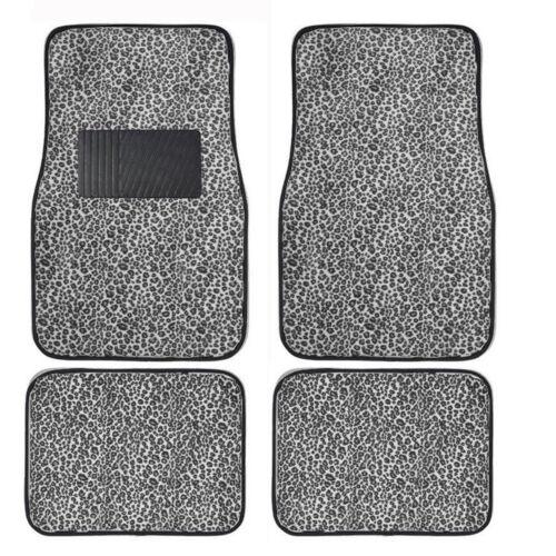 New 4PC Set Front and Rear Car Truck Gray Cheetah Floor Mats w// heel Pad