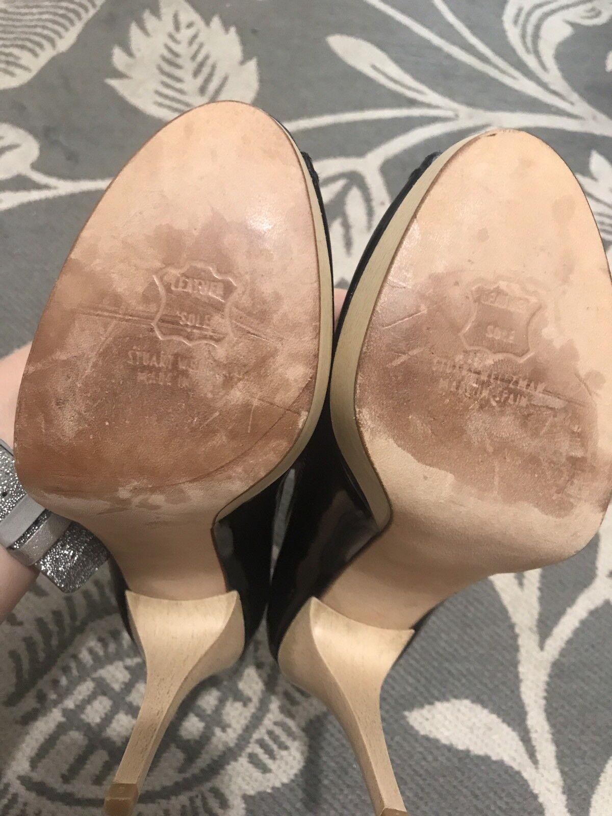 465 465 465 NEW Stuart Weitzman schwarz patent leather wooden platform peep toe pumps 9M a6ebec