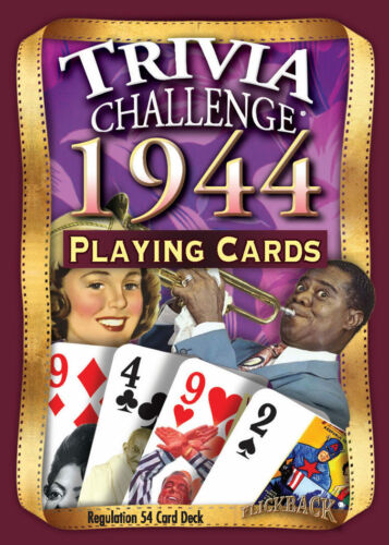 1944 Trivia Playing Cards 75th Birthday Gift or 75th Anniversary Gift
