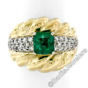 Vintage-18K-Two-Tone-Gold-2-29ctw-GIA-Colombian-Emerald-amp-Diamond-Cocktail-Ring