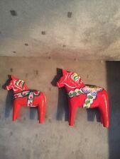 2 ORANGE SWEDISH DALA HORSE AKTA DALA NILS OLSSON  SWEDEN 3.5-4.5  Inch Lot Of 2