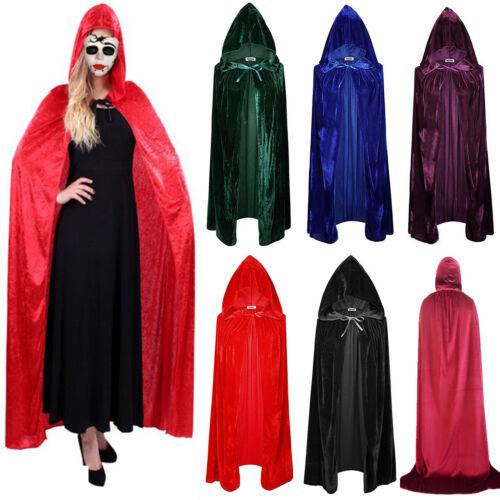 Halloween Costume Vampire Witchcraft Cape Gothic Hooded Velvet Cloak Wicca Robe