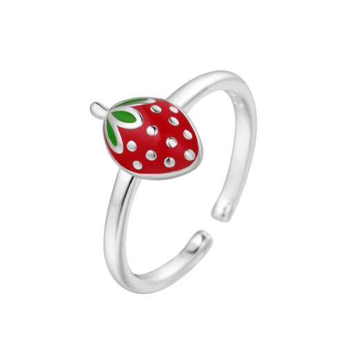 925 Silver Lovely Strawberry Fruit Finger Rings for Girls Birthday Gifts Jewelry
