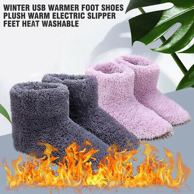 USB Warmer Foot Shoe Plush Slipper Feet Electric Heat Washable Winter Sock Shoes