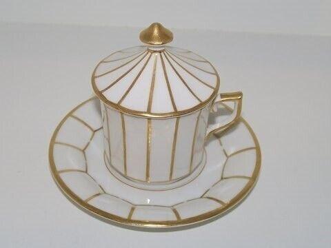 Porcelæn, Hvid Kantet med guldkant  Cremekop med låg