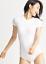 Yummie WHITE Nylon Short Sleeve Shaping Full Back Bodysuit US Small//Medium