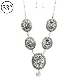 SOUTHWEST-Gypsy-WESTERN-COWGIRL-concho-silver-NECKLACE-SET-LONG-CRYSTAL-BLING