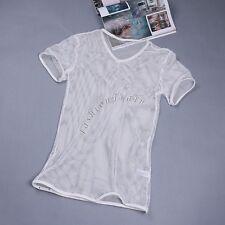US Men's Muscle Comfy Mesh sheer See Through T-Shirt Tank Top Singlet Underwear