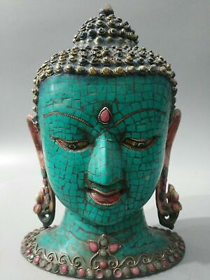 Special Section 12'' Old Tibet Bronze Copper Inlay Turquoise Sakyamuni Tathagata Buddha Head Antiques Figurines & Statues
